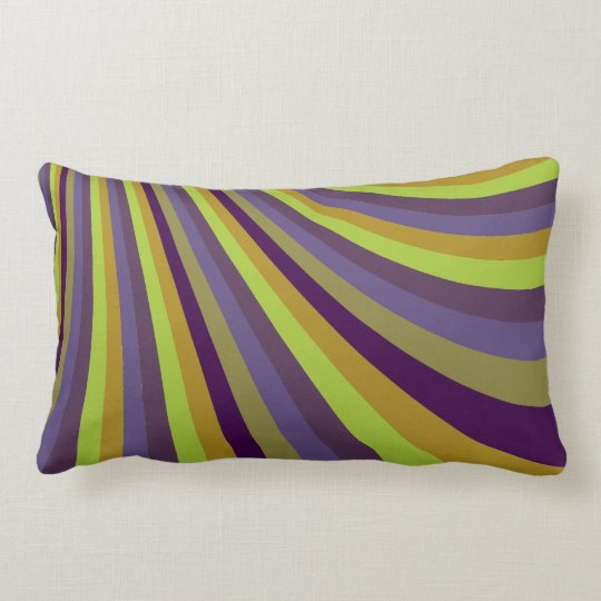 Groovy Purple and Green Rainbow Slide Stripes Patt Lumbar Pillow