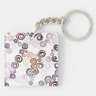 Groovy Purple Swirling Art Keychain