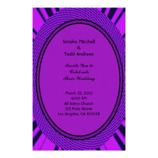 Groovy Purple Wedding Abstract Stationery Paper