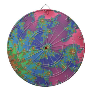 Groovy Rainbow Colored Fractal Art Dartboard