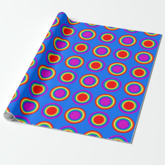 Groovy Rainbow of Concentric Circles Wrapping Paper