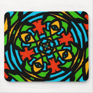 Groovy Red and Turquoise Retro Puzzle Abstract Mouse Pad