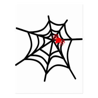 Groovy Red Spider on Web - Halloween Postcard