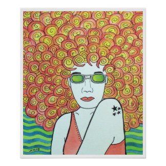 Groovy Redhead Girl Poster