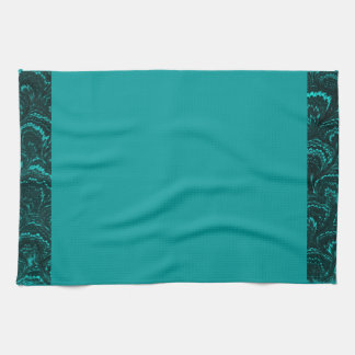 Groovy Retro Abstract Swirl Teal Peacock Turquoise Hand Towels
