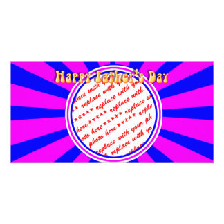 Groovy Retro Blue Pink Father s Day Frame Photo Cards