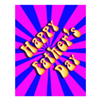 Groovy Retro Blue Pink For Father s Day Custom Flyer
