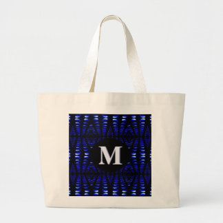 Groovy Retro Cobalt Blue Lava Bubbles Monogrammed Large Tote Bag
