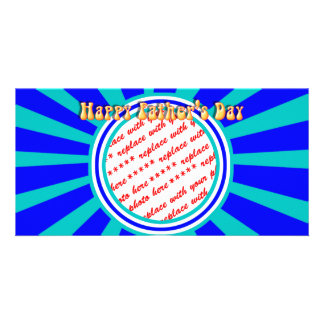 Groovy Retro Father s Day Blue Photo Frame Customized Photo Card