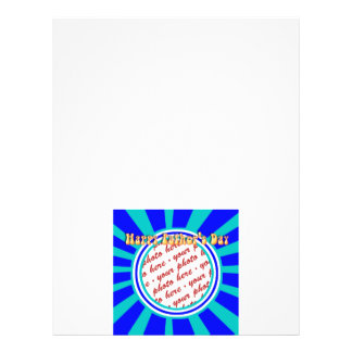 Groovy Retro Father's Day Blue Photo Frame Flyers