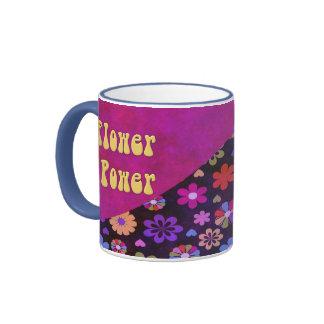 Groovy Retro Flower Power 60s 70s Ringer Mug