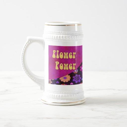 Groovy Retro Flower Power 60s 70s Stein Coffee Mugs