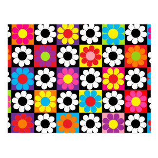 Groovy Retro Flower Power Postcard