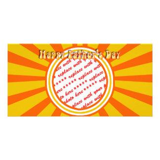 Groovy Retro Gold Orange Father s Day Frame Custom Photo Card