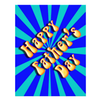 Groovy Retro Light & Dark Blue Father's Day Full Color Flyer