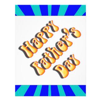 Groovy Retro Light & Dark Blue Father's Day Flyer Design