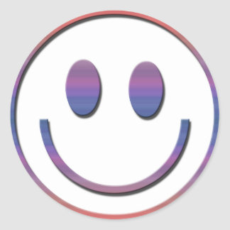 Groovy Retro Smiley Face Classic Round Sticker