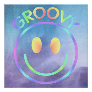 Groovy | Retro Smiley Face Purple Pastels Poster