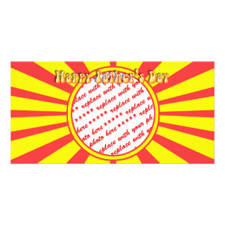 Groovy Retro Yellow & Red Father's Day Frame Personalized Photo Card