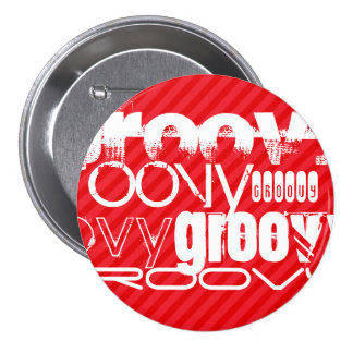 Groovy; Scarlet Red Stripes 3 Inch Round Button