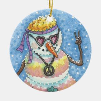 Groovy Snowman PEACE ON EARTH CHRISTMAS ORNAMENT