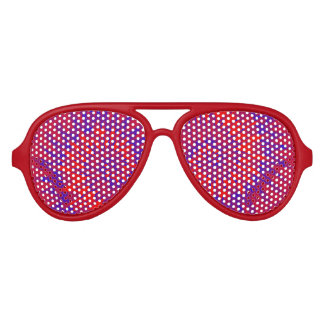 Groovy Spiral Blue and Red Tie Dye Aviator Sunglasses