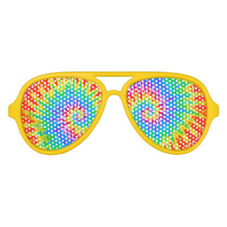 Groovy Spiral Rainbow Tie Dye Sunglasses