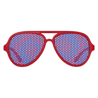 Groovy Spiral Red and Blue Tie Dye Aviator Sunglasses
