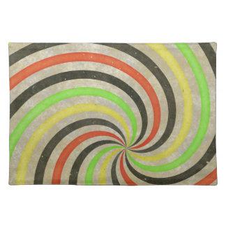 Groovy Spiral Sunbeam Ray Swirl Design Grungy Placemats