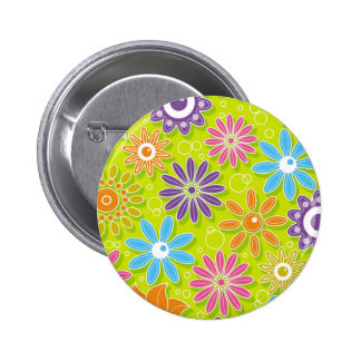 Groovy Spring Flower Power 2 Inch Round Button