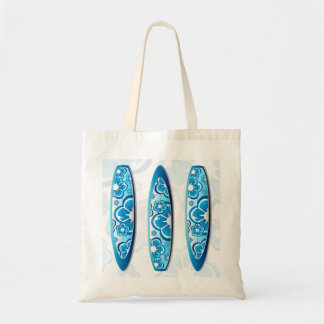 Groovy Surfboard with a flower design Tote Bag