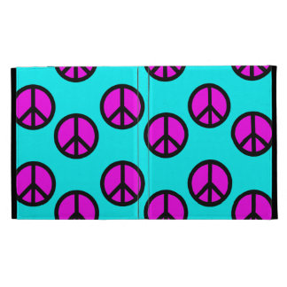 Groovy Teen Hippie Teal and Purple Peace Signs iPad Cases