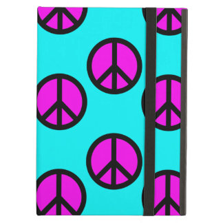 Groovy Teen Hippie Teal and Purple Peace Signs iPad Covers