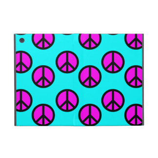 Groovy Teen Hippie Teal and Purple Peace Signs Case For iPad Mini