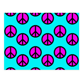 Groovy Teen Hippie Teal and Purple Peace Signs Postcard