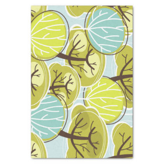 Groovy Tree Design Blue & Green Tissue Paper