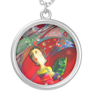 groovy UFO Girl Necklace, silver round or square Silver Plated Necklace