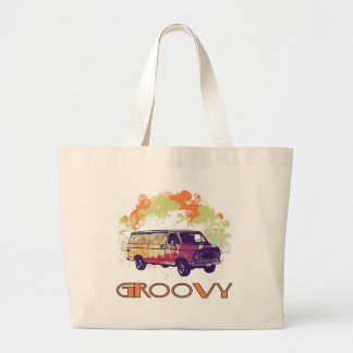 Groovy Van - Retro 70's Design Large Tote Bag