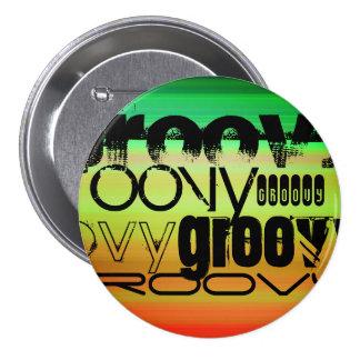 Groovy; Vibrant Green, Orange, & Yellow 3 Inch Round Button