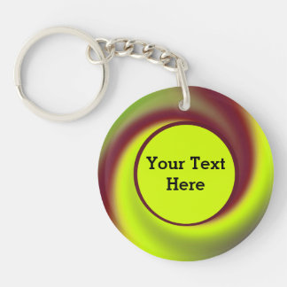 Groovy Yellow Brown Swirl Abstract Keychain