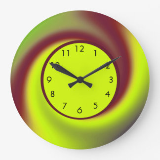 Groovy Yellow Brown Swirl Abstract Large Clock