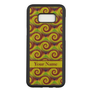 Groovy Yellow Brown Swirl Abstract Pattern Carved Samsung Galaxy S8+ Case