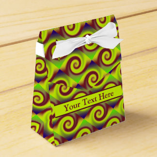 Groovy Yellow Brown Swirl Abstract Pattern Favor Box