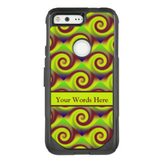 Groovy Yellow Brown Swirl Abstract Pattern OtterBox Commuter Google Pixel Case