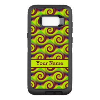 Groovy Yellow Brown Swirl Abstract Pattern OtterBox Defender Samsung Galaxy S8+ Case