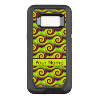 Groovy Yellow Brown Swirl Abstract Pattern OtterBox Defender Samsung Galaxy S8 Case