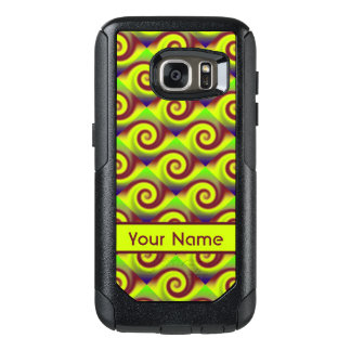 Groovy Yellow Brown Swirl Abstract Pattern OtterBox Samsung Galaxy S7 Case