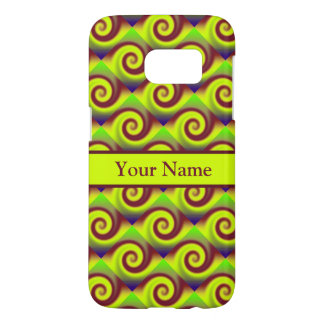 Groovy Yellow Brown Swirl Abstract Pattern Samsung Galaxy S7 Case