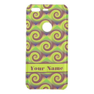 Groovy Yellow Brown Swirl Abstract Pattern Uncommon Google Pixel Case
