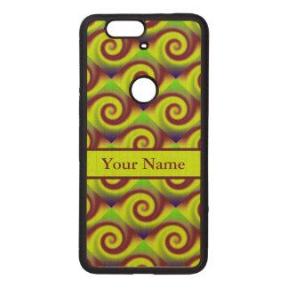Groovy Yellow Brown Swirl Abstract Pattern Wood Nexus 6P Case